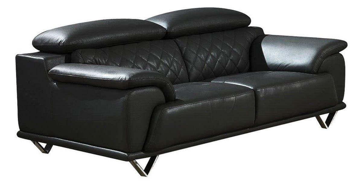 Canapé 2 places en cuir GARCIA - Noir