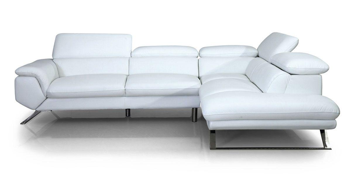 Canapé d'angle droit en cuir PANAMA - Blanc neige