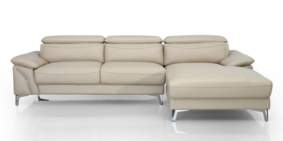 Canapé d'angle droit en cuir NOUMEA - Beige