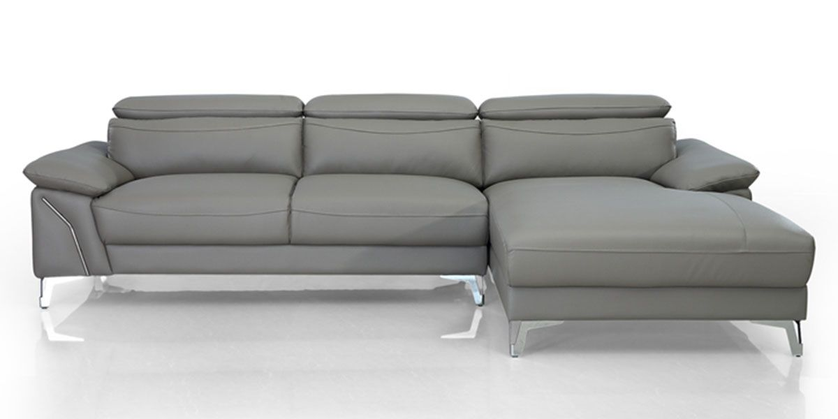 Canapé d'angle droit en cuir NOUMEA - Gris