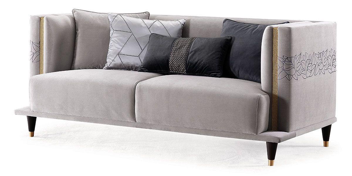 Canapé 2 places en velours DIANA - Gris