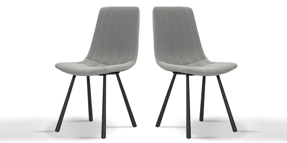 Chaise Design YUKA - Gris - Lot de 2