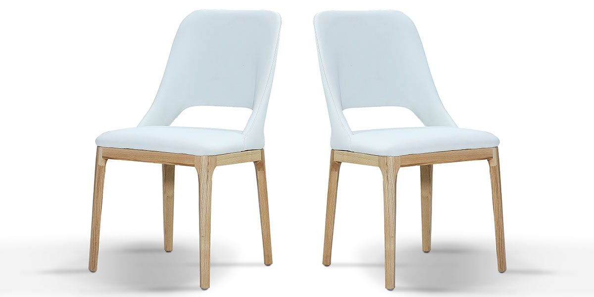 Chaise Design MANDY - Blanc - Lot de 2