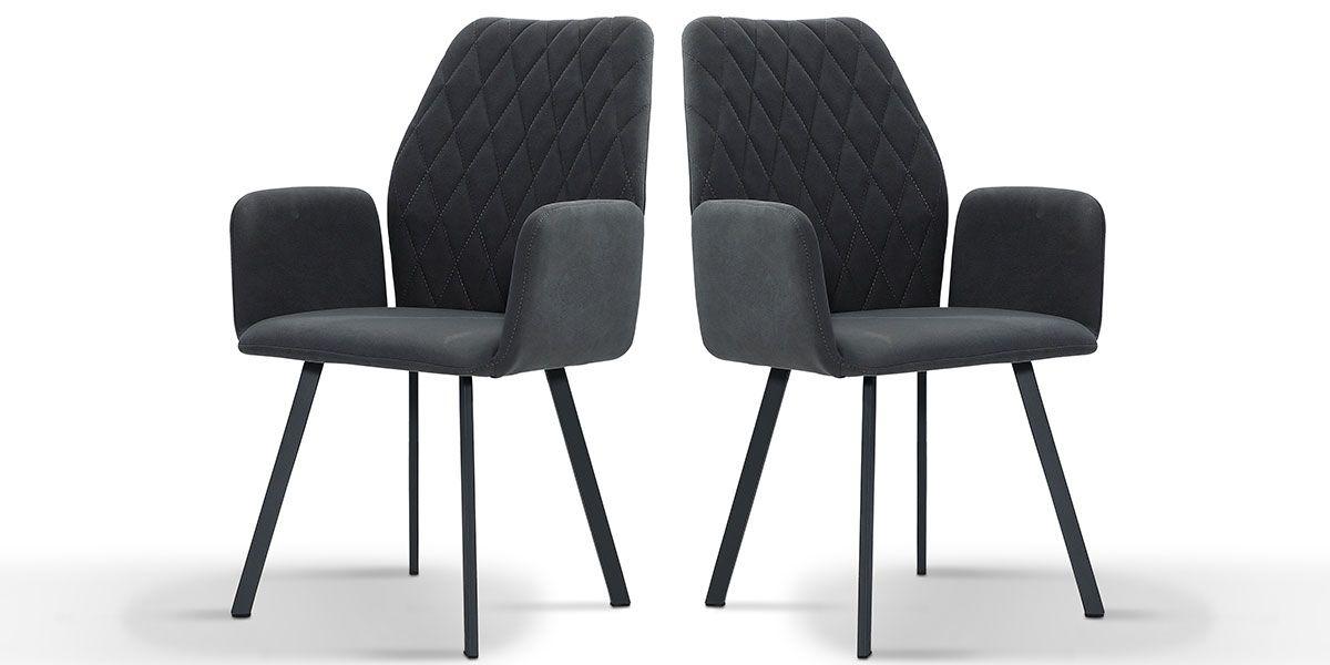 Chaise Design LILIAZ - Gris foncé - Lot de 2