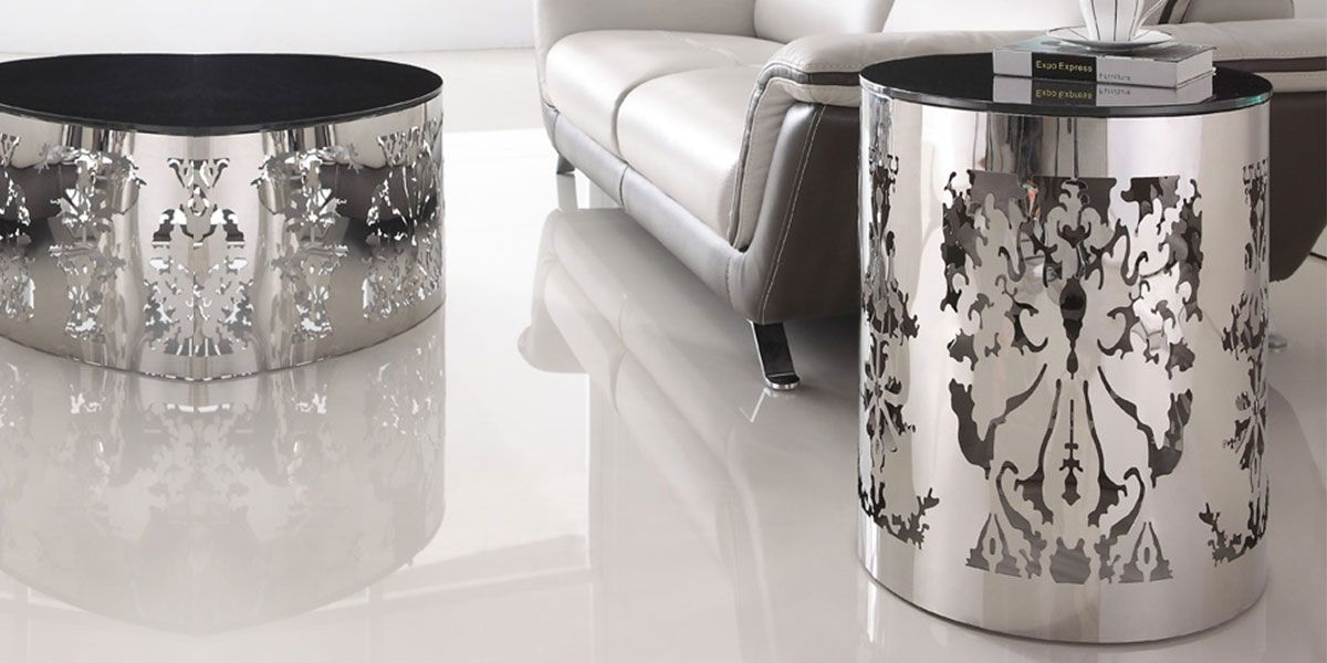 Table d'appoint verre GLOSSY - Noir
