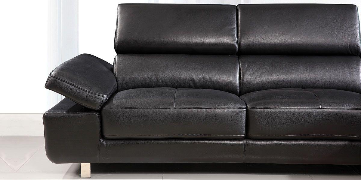 Canapé d'angle droit en cuir GIANNI - Noir