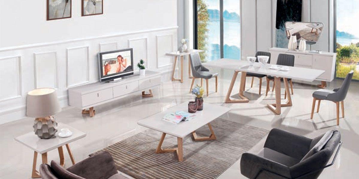 Meuble TV bois/laqué DUNE - Frêne/Blanc