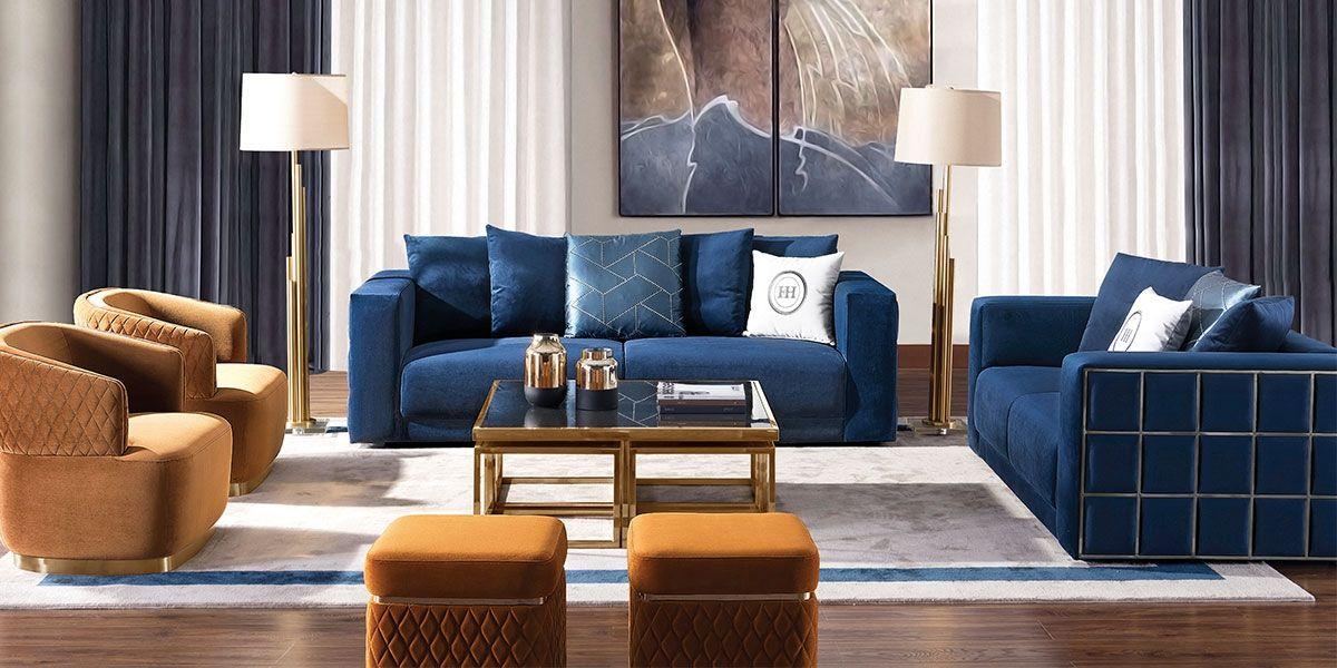 Canapé 2 places en velours KALIA - Bleu