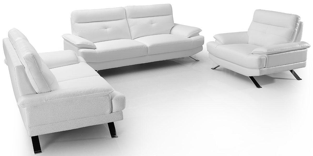 Fauteuil Design en cuir SYDNEY - Blanc écru