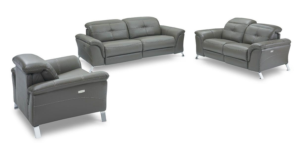 Canapé relaxation électrique 3 places en cuir DENY - Taupe