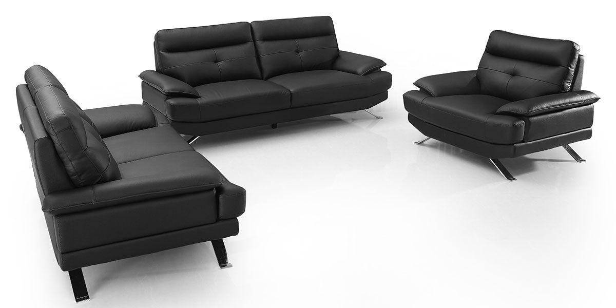Canapé 2 places en cuir SYDNEY - Noir