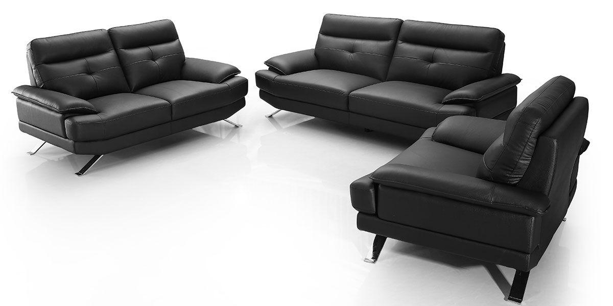 Canapé 3 places en cuir SYDNEY - Noir