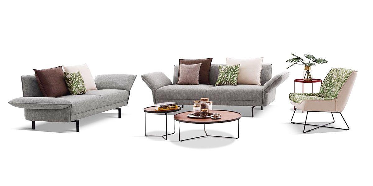 Canapé 2 places en tissu JULIA - Gris chiné