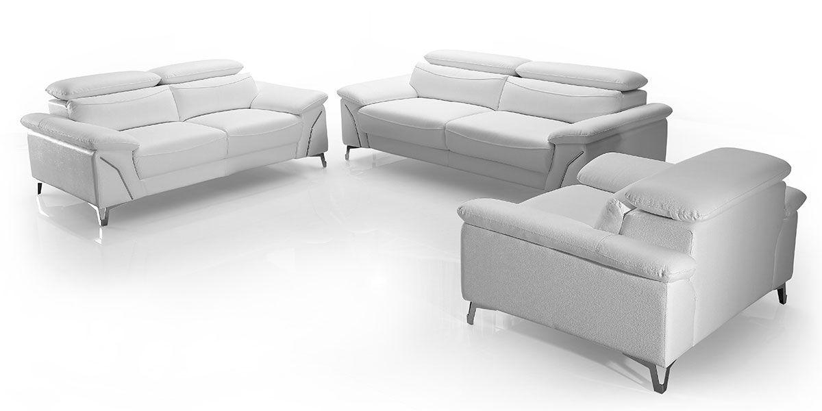Canapé 3 places en cuir MILAN - Blanc neige