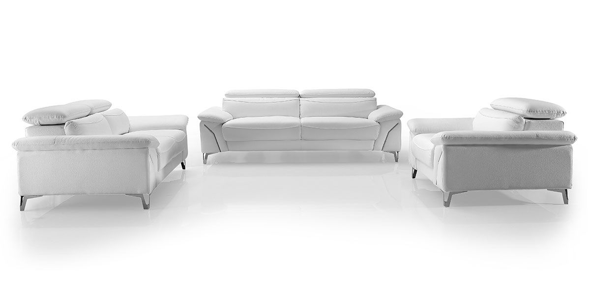 Fauteuil Design en cuir MILAN - Blanc neige