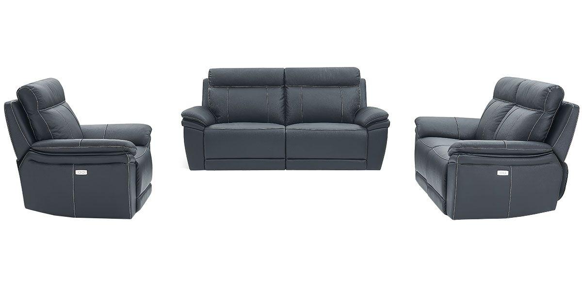 Canapé relaxation électrique 2 places en cuir DALIA - Noir