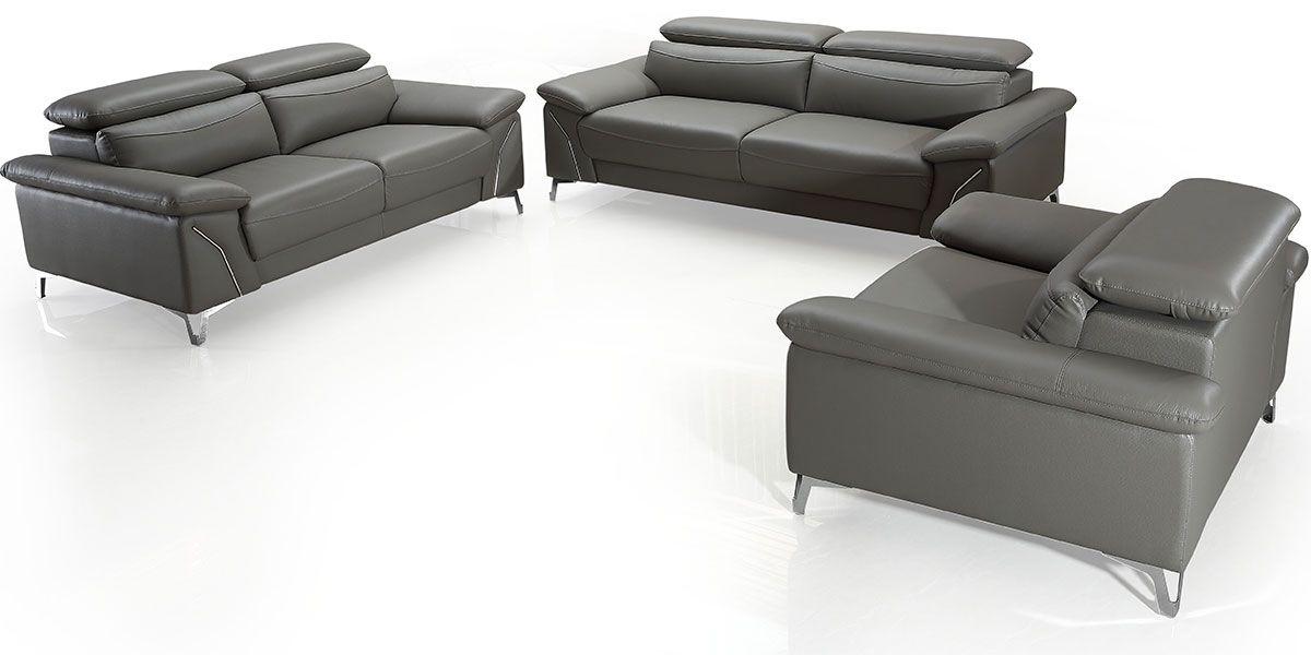 Canapé 3 places en cuir MILAN - Gris souris
