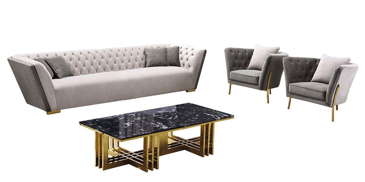Canapé 3 places en velours KIARA - Gris/Beige