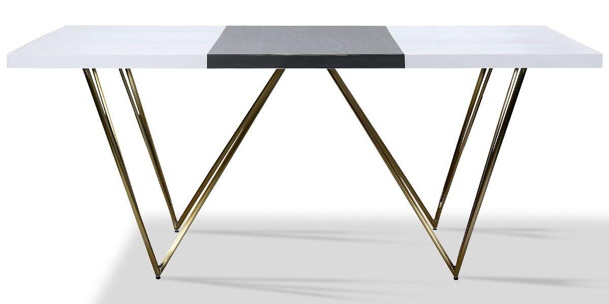 Table à manger laqué/acier JAZZ - Blanc/Gris/Gold