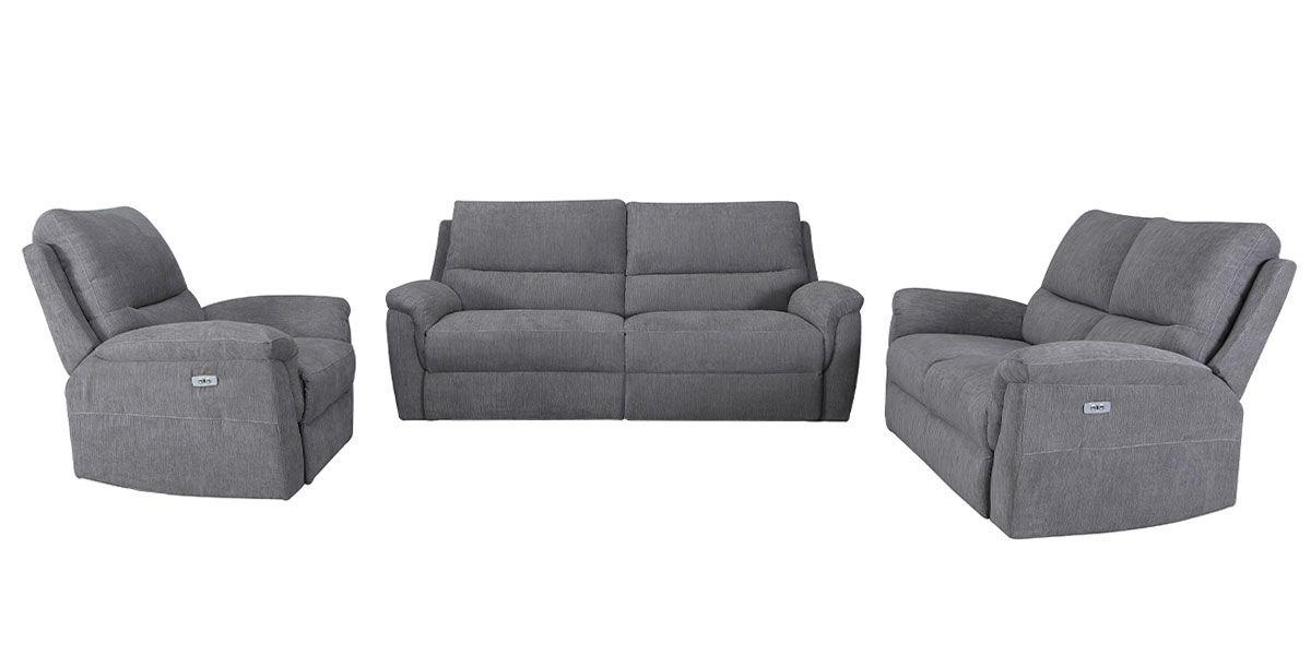 Canapé relaxation électrique 3 places en tissu COCOON - Gris perle