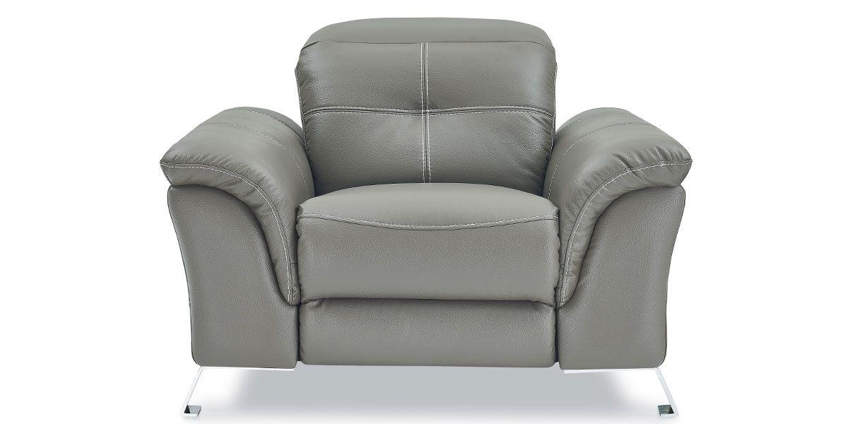 Fauteuil relaxation électrique 1 place en cuir DENY - Taupe