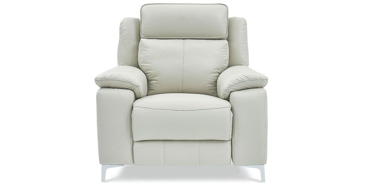 Fauteuil relaxation électrique 1 place en cuir KARA - Gris clair