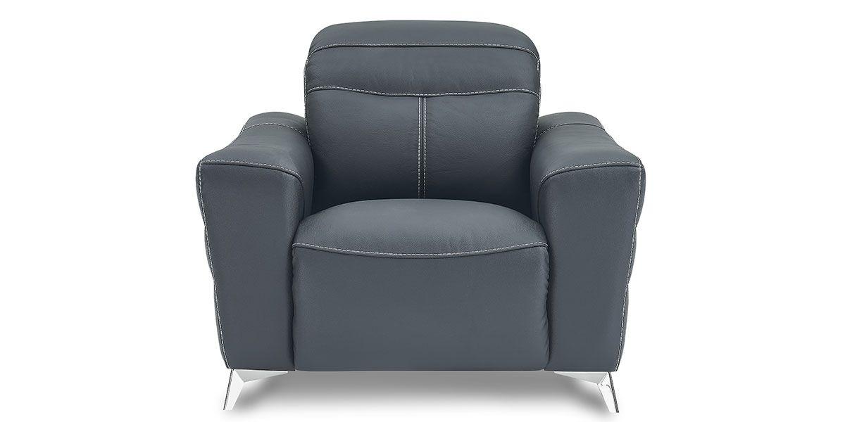 Fauteuil relaxation électrique 1 place en cuir SLOAN - Noir