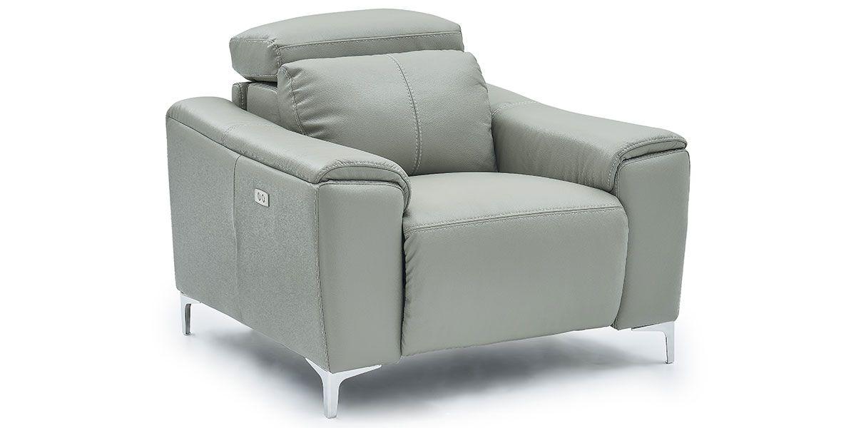 Fauteuil relaxation électrique 1 place en cuir BIANCA - Gris clair