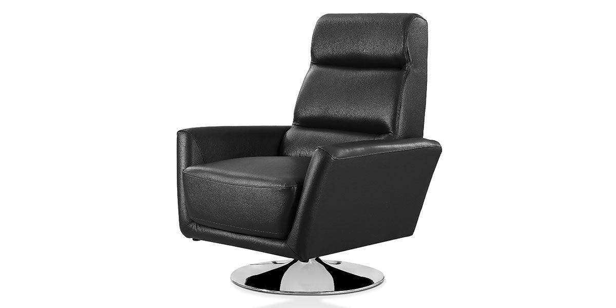 Fauteuil pivotant en cuir Design ALYAS – Noir