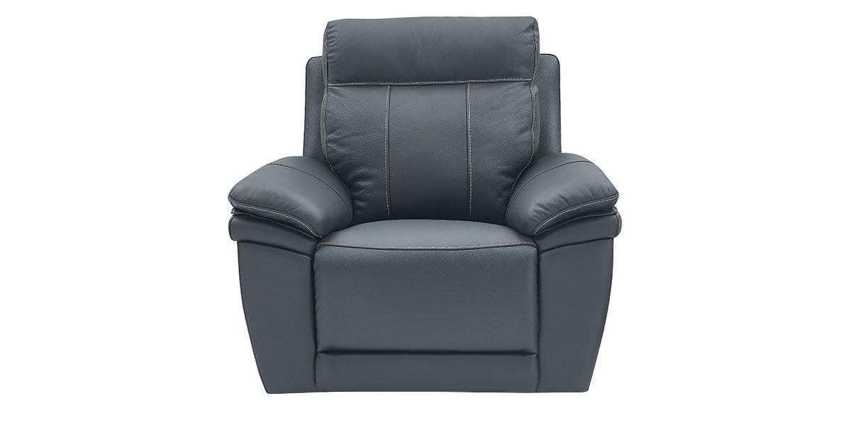 Fauteuil relaxation électrique 1 place en cuir DALIA - Noir