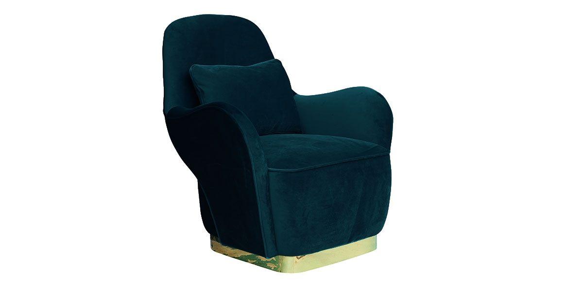 Fauteuil en velours MALINA - Bleu/Vert