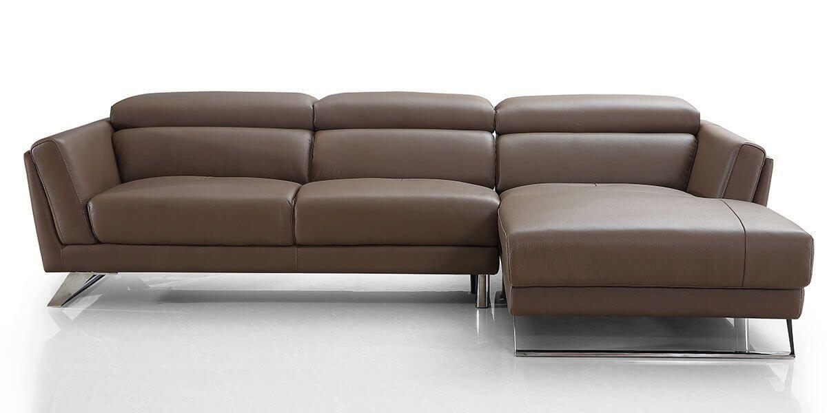 Canapé d'angle droit en cuir HILONA - Marron