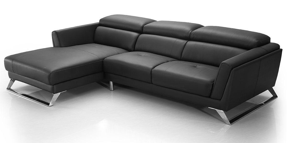 Canapé d'angle gauche en cuir HILONA - Noir