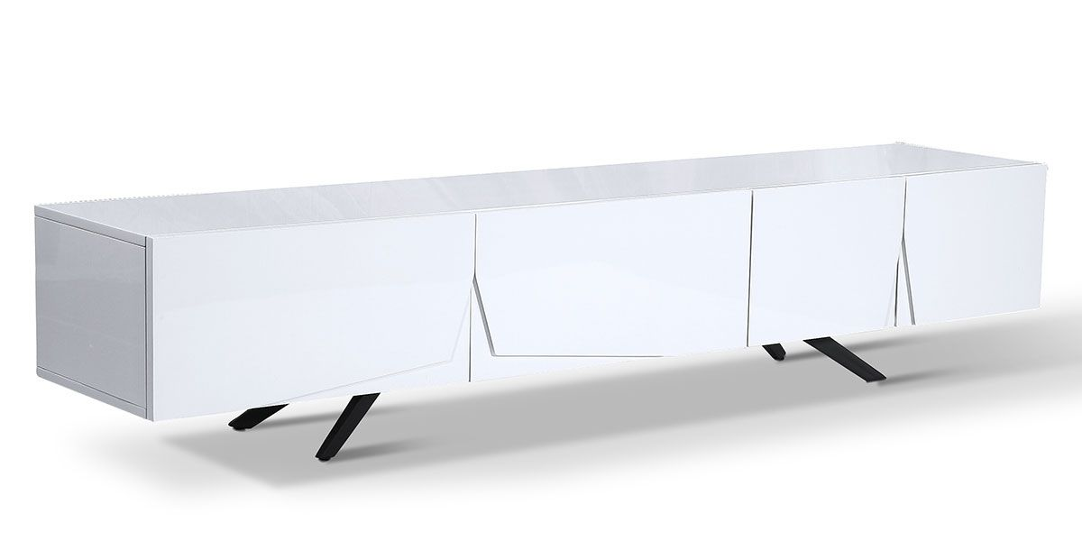Meuble TV laqué ASTER - Blanc