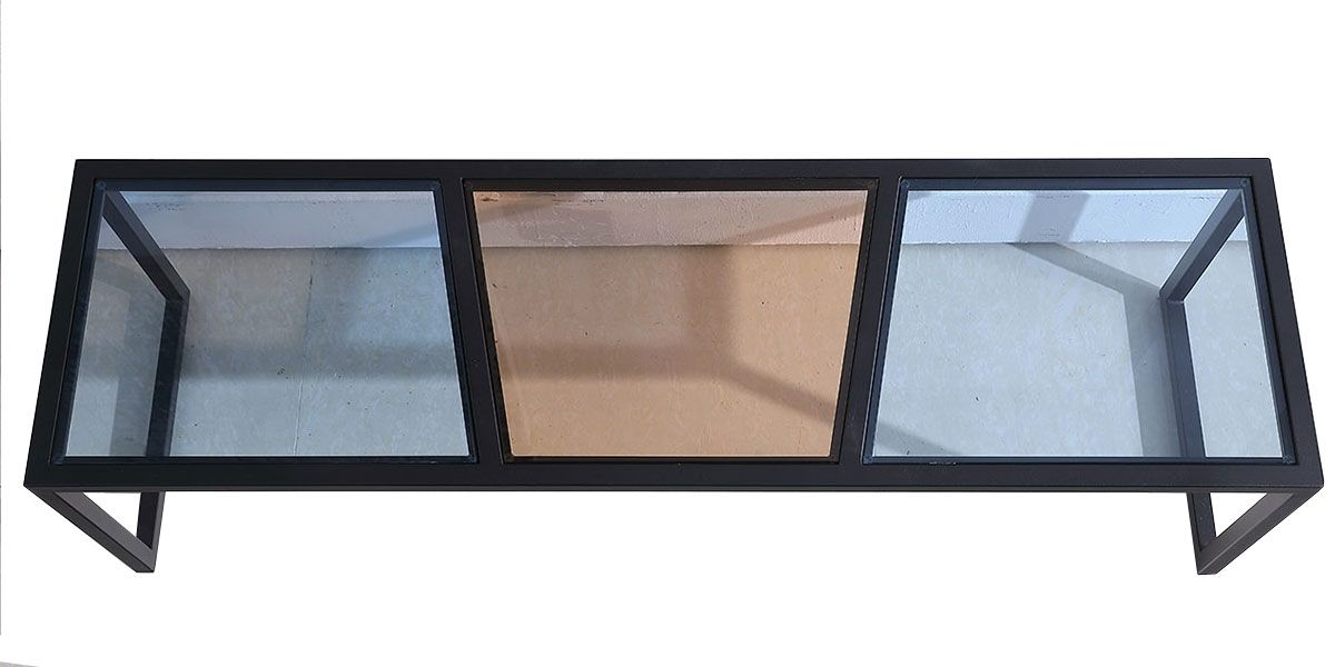 Meuble TV verre ESPRIT - Marron / Bleu