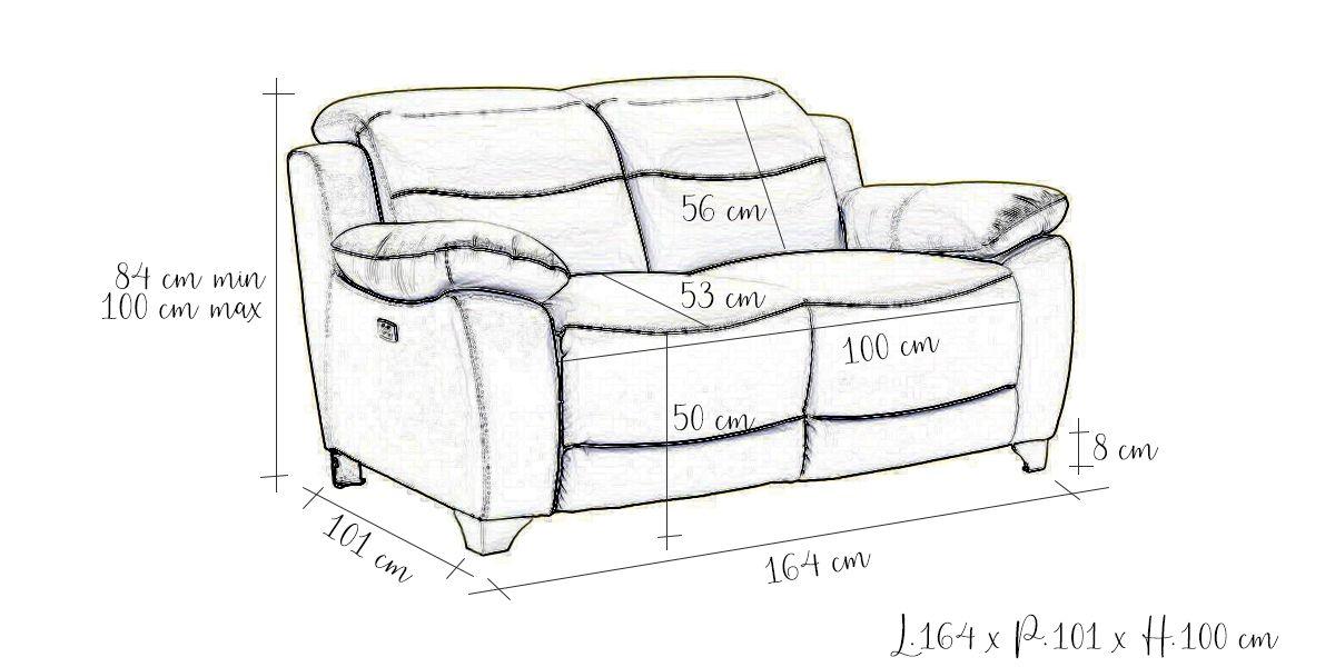 Canapé relaxation électrique 2 places en cuir NOA - Gris perle