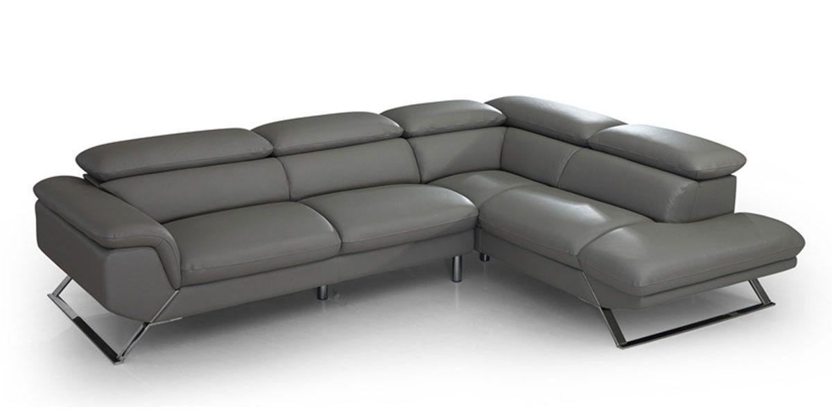 Canapé d'angle droit en cuir PANAMA - Gris