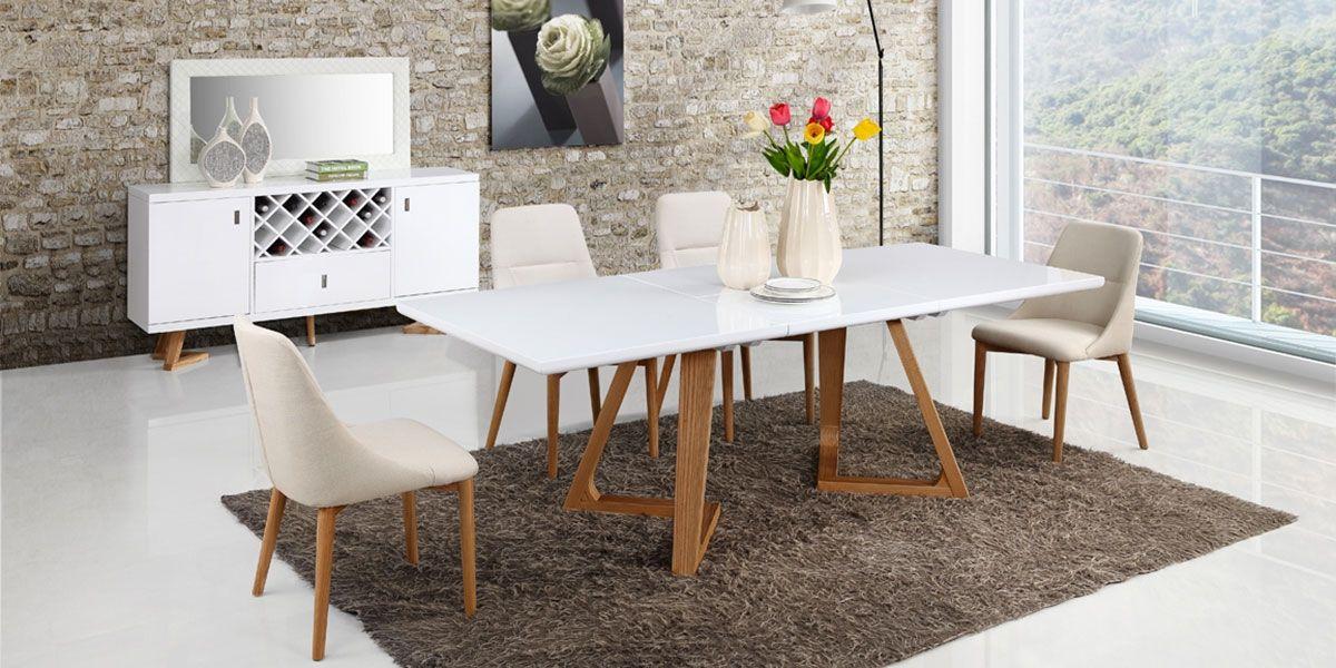Table à manger extensible bois/laqué DUNE  - Frêne/Blanc