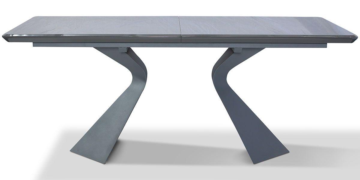 Table à manger extensible bois/laqué WEST - Noyer/Gris