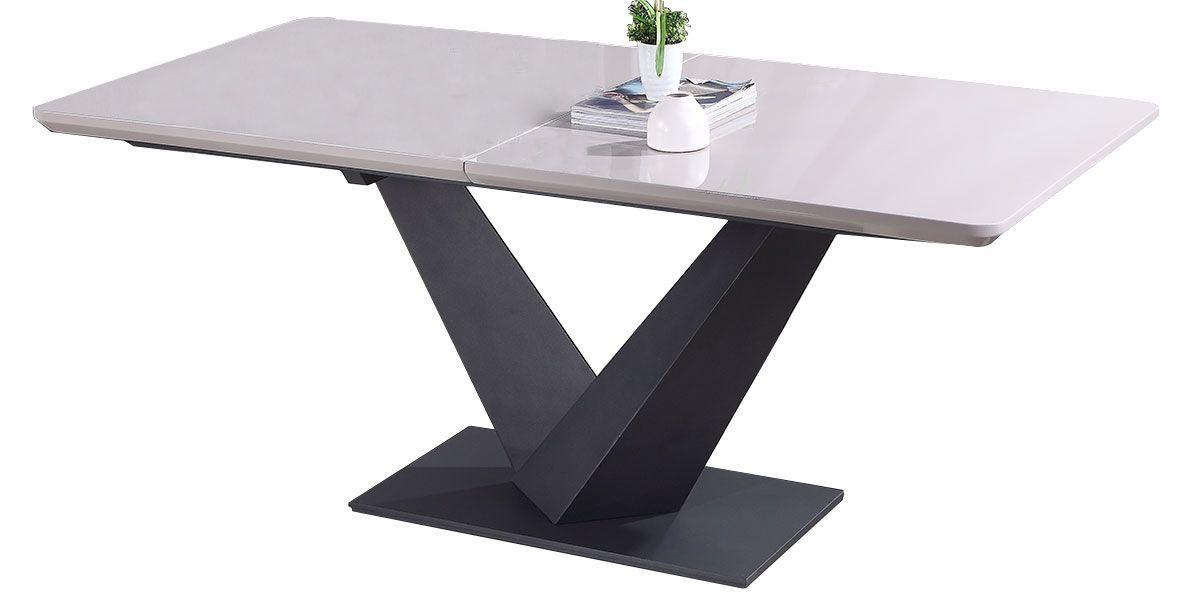 Table à manger extensible laqué KLOE - Beige/Gris