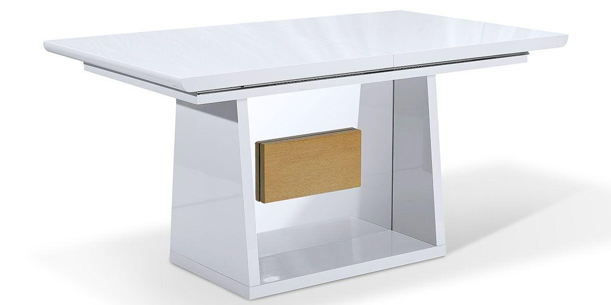 Table à manger extensible bois/laqué MANDY- Chêne/Blanc