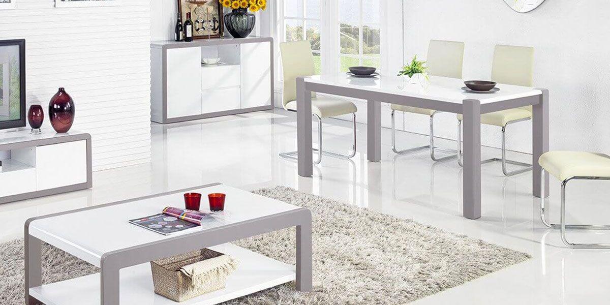 Table à manger laquée JULIA - Blanc / Gris