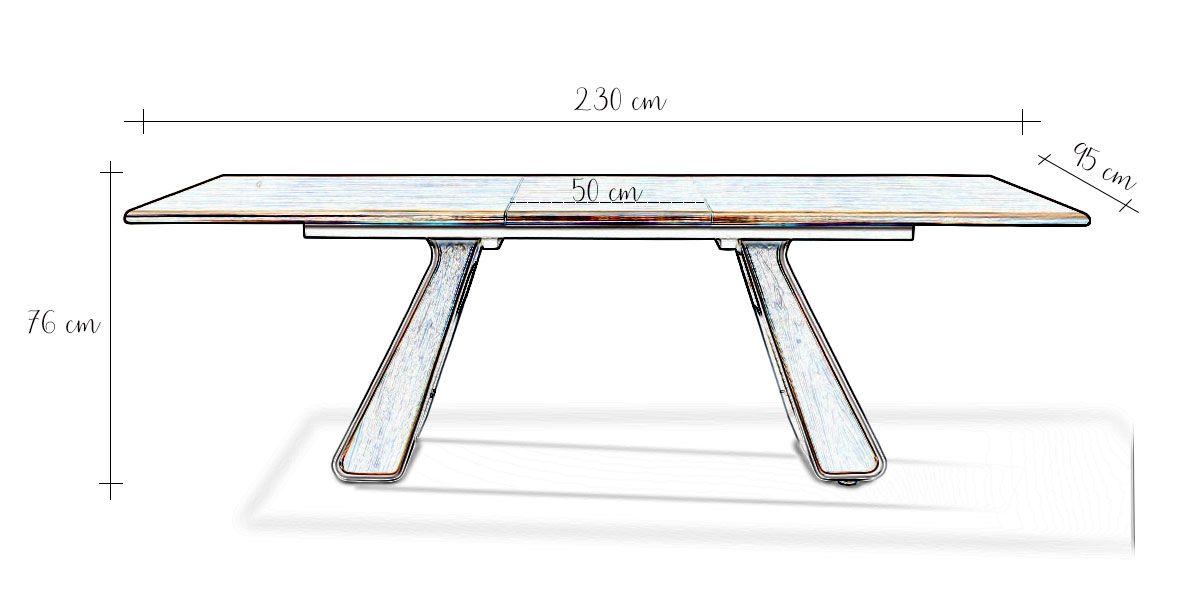 Table à manger extensible bois/laqué ISORA - Noyer/Gris
