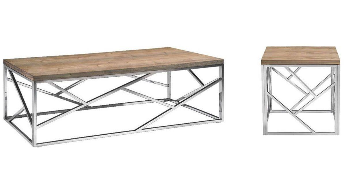 Table basse bois et acier SOAN - Fréne/Acier
