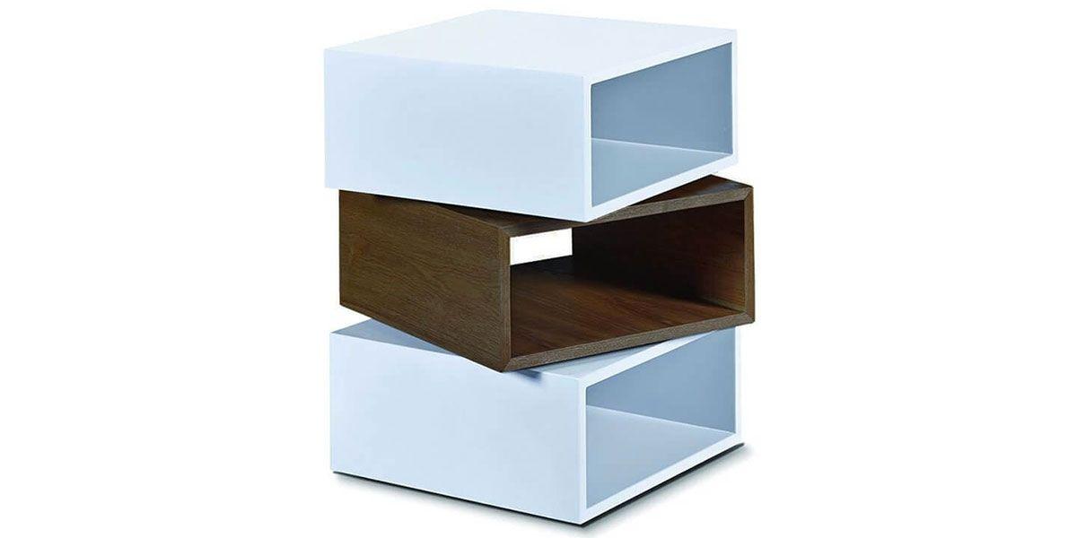Table d'appoint bois et laqué KUB - Noyer/Blanc