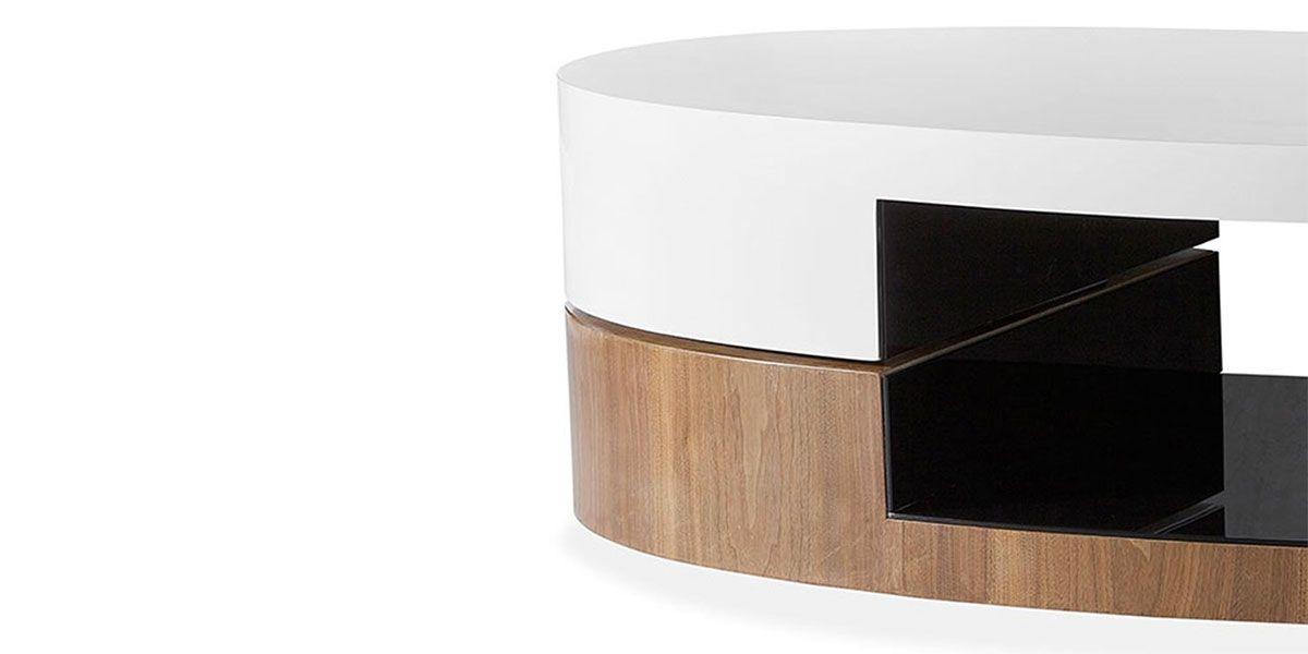 Table basse bois/laqué SIDONY - Noyer/Blanc