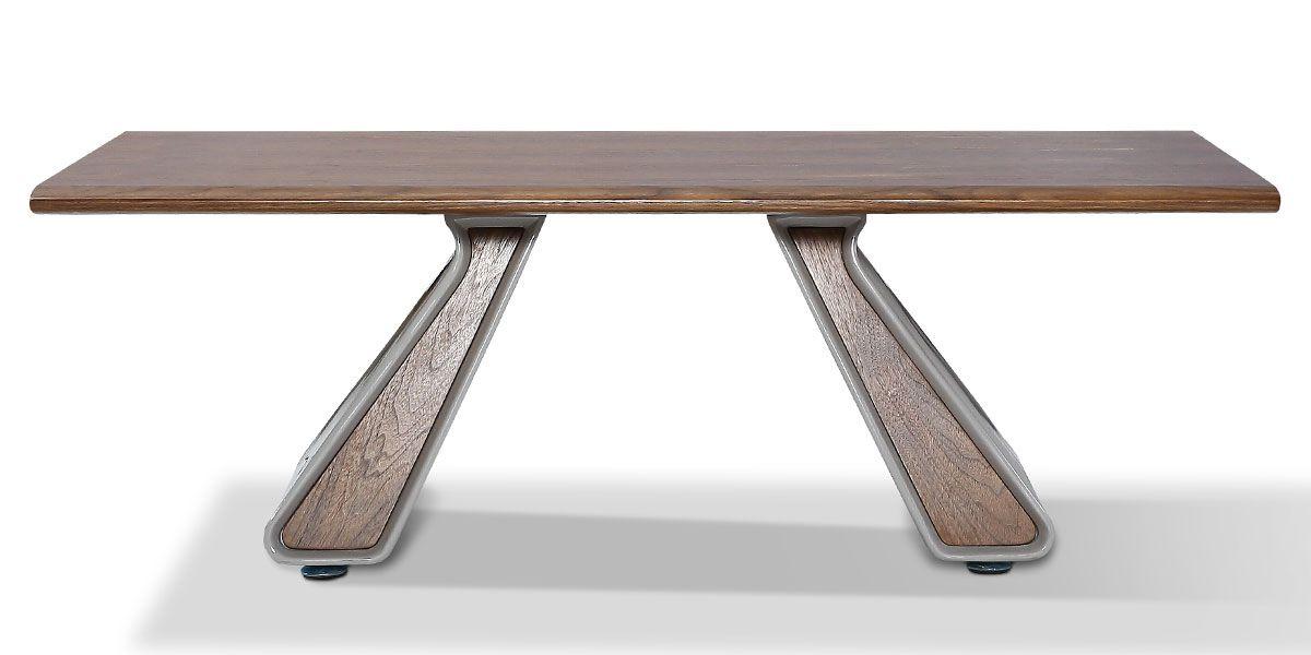 Table basse bois/laqué ISORA - Noyer/Gris