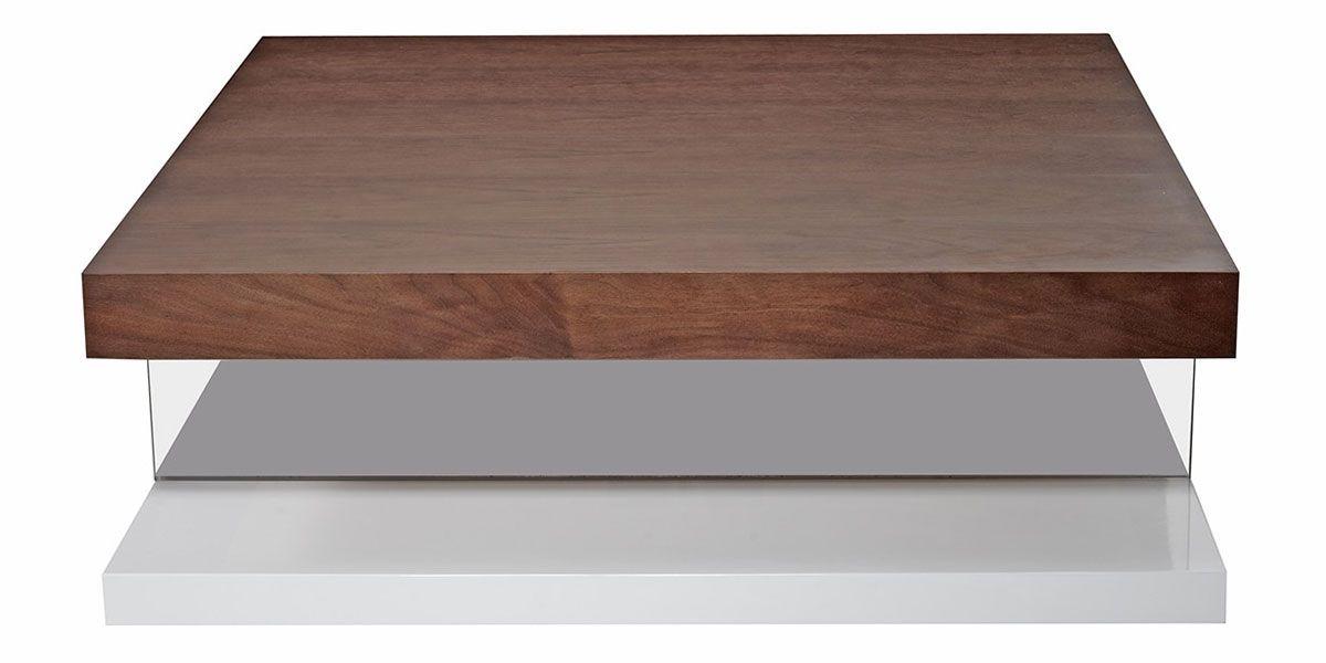 Table basse bois et laqué QUADRO - Noyer/Blanc