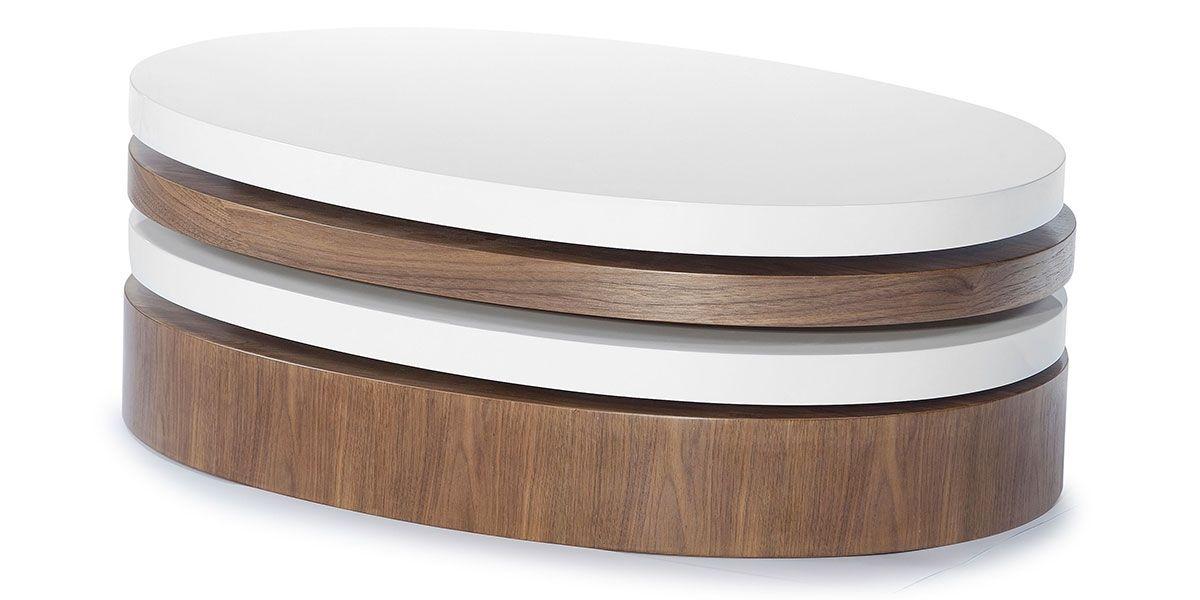 Table basse bois et laqué SIDONY - Noyer/Blanc