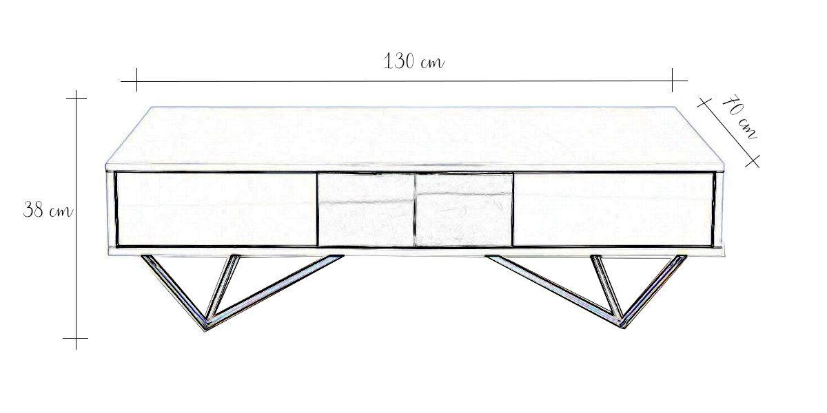 Table basse laqué/acier JAZZ - Blanc/Gris/Gold